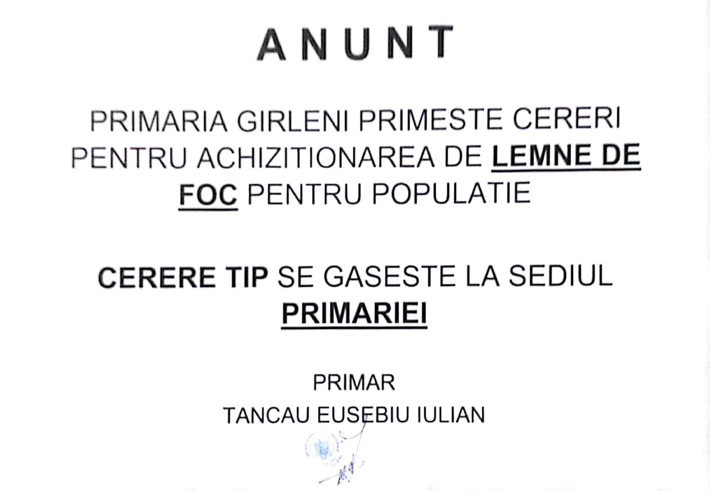 Anunt Lemne 31-08-2017 Garleni